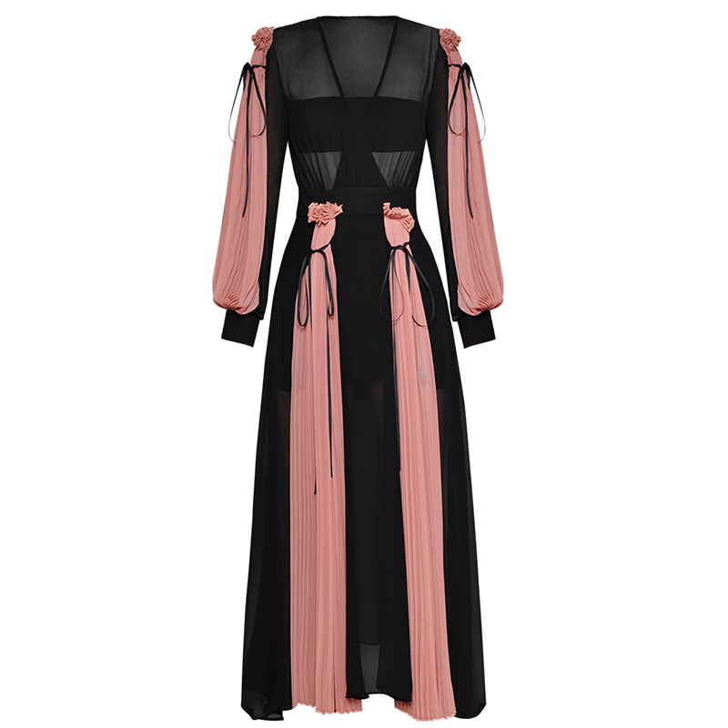 HIGH QUALITY Newest Fashion 2019 Designer Runway Maxi Dress Women s Lantern Sleeve Charming Color Block