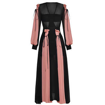 HIGH QUALITY Newest Fashion 2019 Designer Runway Maxi Dress Women's Lantern Sleeve Charming Color Block Pleated Long Dress - DISCOUNT ITEM  63% OFF All Category