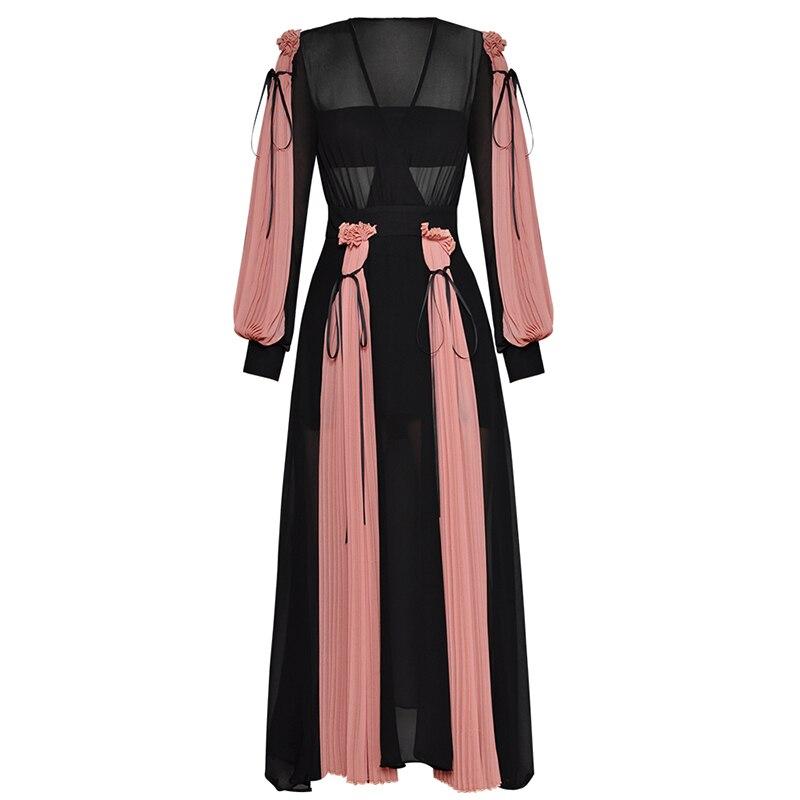 Haute qualité nouvelle mode 2019 Designer piste Maxi robe femmes lanterne manches charmante couleur bloc plissée longue robe
