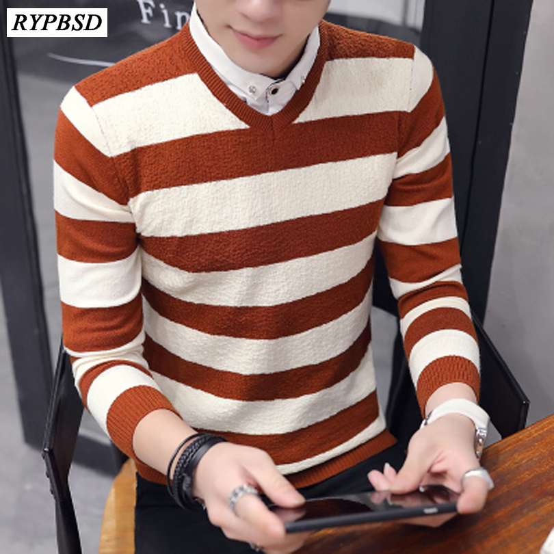 3 Colors Striped Sweater Men Warm Long Sleeve V Neck Winter Clothes For Male Korean Fashion Slim Fit Pullover Men Sweater