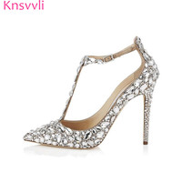 Knsvvli Crystal High Heel Women Shoes Shallow Mouth Pointy Toe T Type Blet Buckle Strap Party Banquet Wedding Shoes Woman Pumps