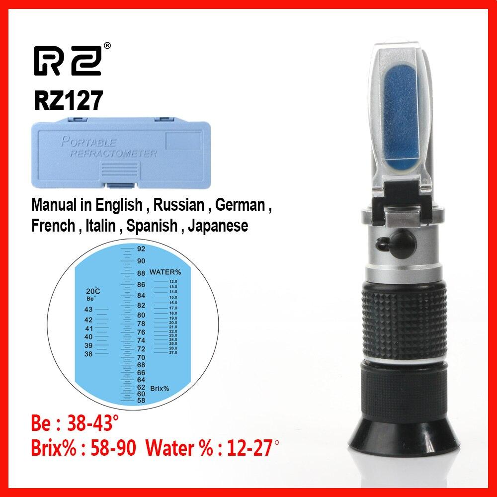 RZ Haute Qualité Brix Être L'eau 3 dans 1 58% ~ 92% Concentration Miel Réfractomètre Abeilles Sucre Alimentaire ATC RZ127