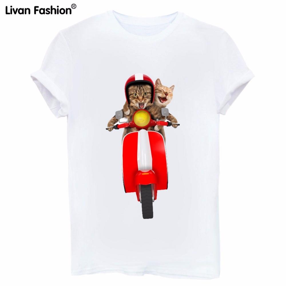 Musim Panas Gaya Baru Dua Kucing Naik Sepeda Motor Pola Wanita