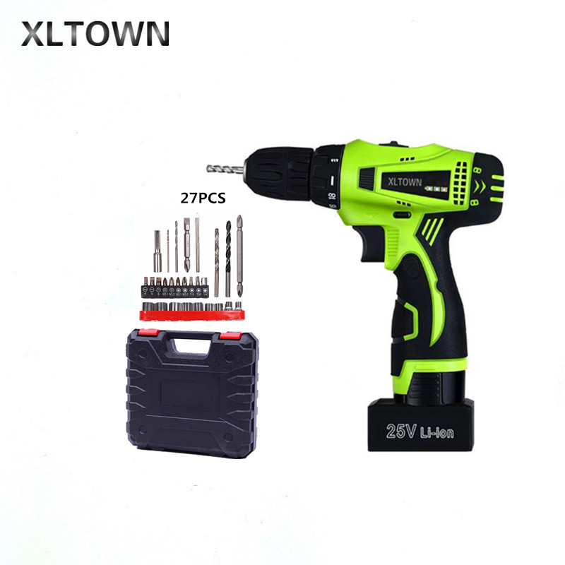 Xltown 25v two-speed rechargeable lithium battery electric screwdriver with Plastic box packaging Electric screwdriver drill bit xltown 25v two speed 2 battery lithium battery electric screwdriver with a plastic box packaging 27pcs drill bit electric drill