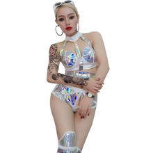 New Sexy Women Jazz Singer DJ Stage Costume Laser Bandage Female Dance Hip-Hop Club Set Bar DS Performance Costumes