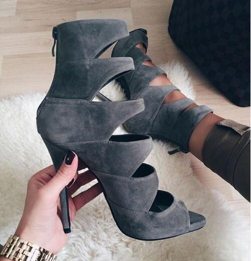 Summer New Brand Women Dark Gray Solid Color Cuts Out Gladiator Zip Back Suede Peep Toe Thin Heels Ankle Boots Short Booties women irresistible suede color patchwork ankle boots round toe chunky heels classic side zip short boots new arrival this year