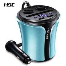 HSC автомобильное USB зарядное устройство адаптер для автомобильного прикуривателя Разветвитель конвертер 5 в 3.1A автомобильное напряжение диагностический дисплей