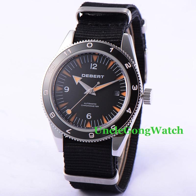 купить Debert 41mm Sapphire Glass Watch Miyota Movement Automatic Mens Watches Rotatable Ceramic Bezel Relojes, Black Nylon Strap по цене 9620.73 рублей