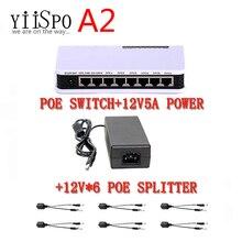 Yiispo 8-портовый коммутатор PoE 6 + 2 порта DC настольный коммутатор Ethernet сети ip камеры питание POE адаптер для Крытый wifi ретранслятор