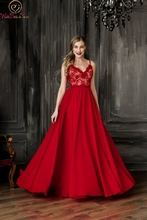 Backless Evening Dress Red Simple Sexy Spaghetti Straps V-neck A-line Sleeveless Chiffon Floor Length Zipper Back Prom Gown