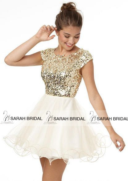 Gold Sequined Mini Cocktail Homecoming Dresses 2015 Hot Sale Fluffy Short  Ivory Prom Dresses Vestidos Para