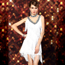 1920s Sexy V Neck Beaded Vintage Sequin Flapper Lady Gatsby Dresses Halloween Costumes Clothes Dance Wear Fringe Tassel Prom