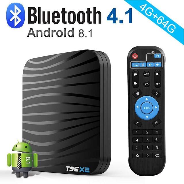T95X2 Android 8.1 Smart TV Box 4 GB 64 GB Amlogic S905X2 Quad Core 2.4G WIFI Không Dây H.265 4 K Netflix Youtube Phương Tiện Truyền Thông Người Chơi T95 X2