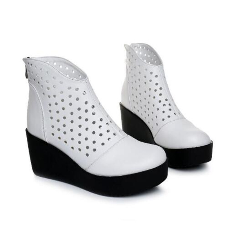 Sandalias Fresco Hueco 2019 Moda Blanco Altos Mujeres Cuero Zapatos LR5A4j