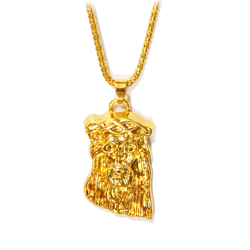large heavy gold filled jesus pendant necklace for