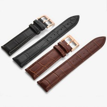 neway Durable Genuine Leather Watch Band Strap with Rose Gold Buckle 12 14 16 18 20 22 24mm  Watchband Black Brown For Man Woman