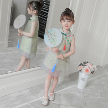 cheongsam dress girls sleeveless qipao summer chinese traditional clothing for kids