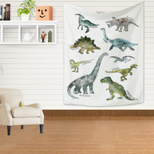Cartoon Wall Tapestry Dinosaur Unicorn Hippie Psychedelic Hanging Landscape Nature Forest Art Carpet