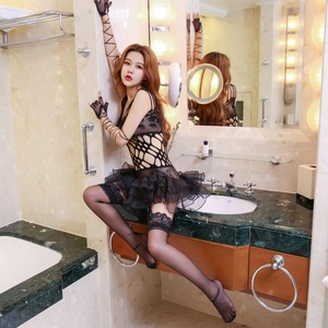 Image 3 - Lingerie feminina sexy preta de malha, roupa íntima, babydoll, erótica, trajes de menina, cosplay