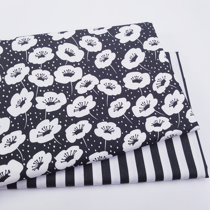 50x40cm Black Floral Strips Print Cotton Fabric DIY Handmade Fabrics For Patchwork Sewing Home decoration Needlework Craft in Fabric from Home Garden