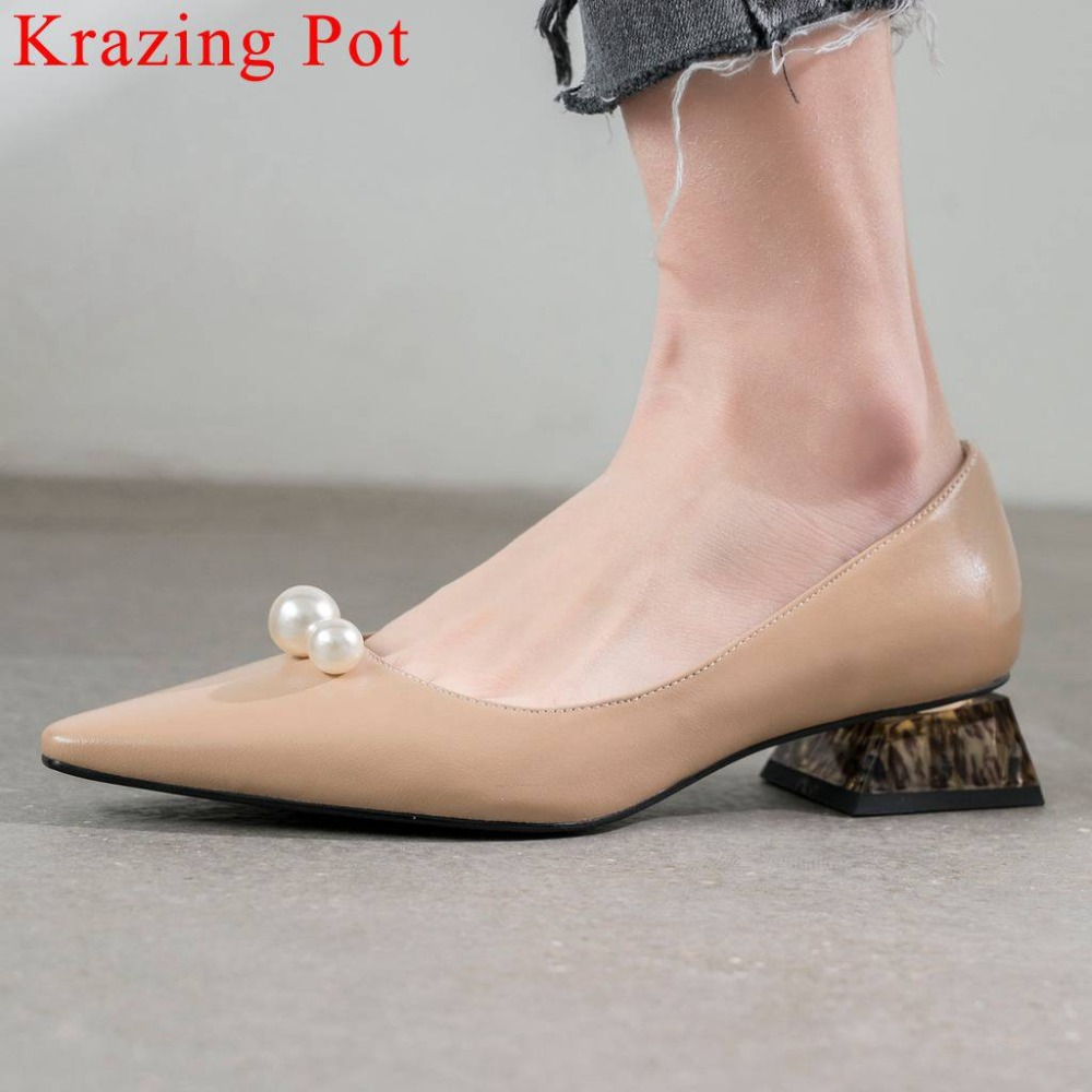 Krazing Pot gentlewomen pearl decoration low heels pointed toe cow leather high fashion streetwear dress elegant women pumps L53-in Women's Pumps from Shoes    1