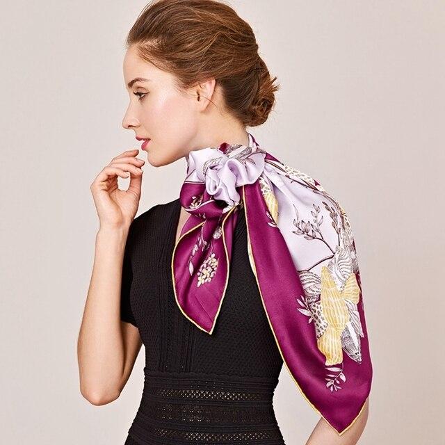1a5296f49 NEW Floral Printed 100% Silk Twill Scarf Bandana Hijab Square Silk Scarf  Women 90 Luxury Design Silk Scarves & Wraps Shawl f OL