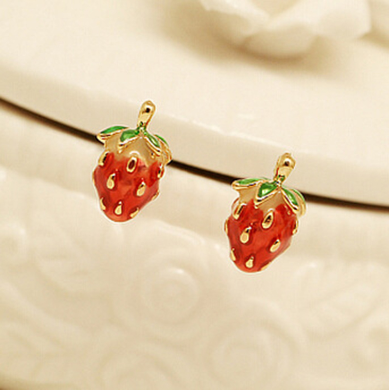 enamel over pin fun metal and metals earrings strawberry stud vintage unique