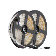 цена на 10M 300Leds 3528 Smd 2X 5M Rgb Led Light Strip + 24 Key Ir Remote Controller Non-Waterproof Dc12V 60Leds/M Flexible Lighting R