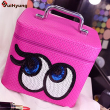 New High Capacity Portable Women's Cosmetic Bag Plaid PU Leather Vanity Case Big Eyes Sequined Cosmetics Case Makeup Storage Box