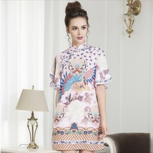 dress Large size womens 2018 summer new retro printed lotus leaf sleeve stand collar