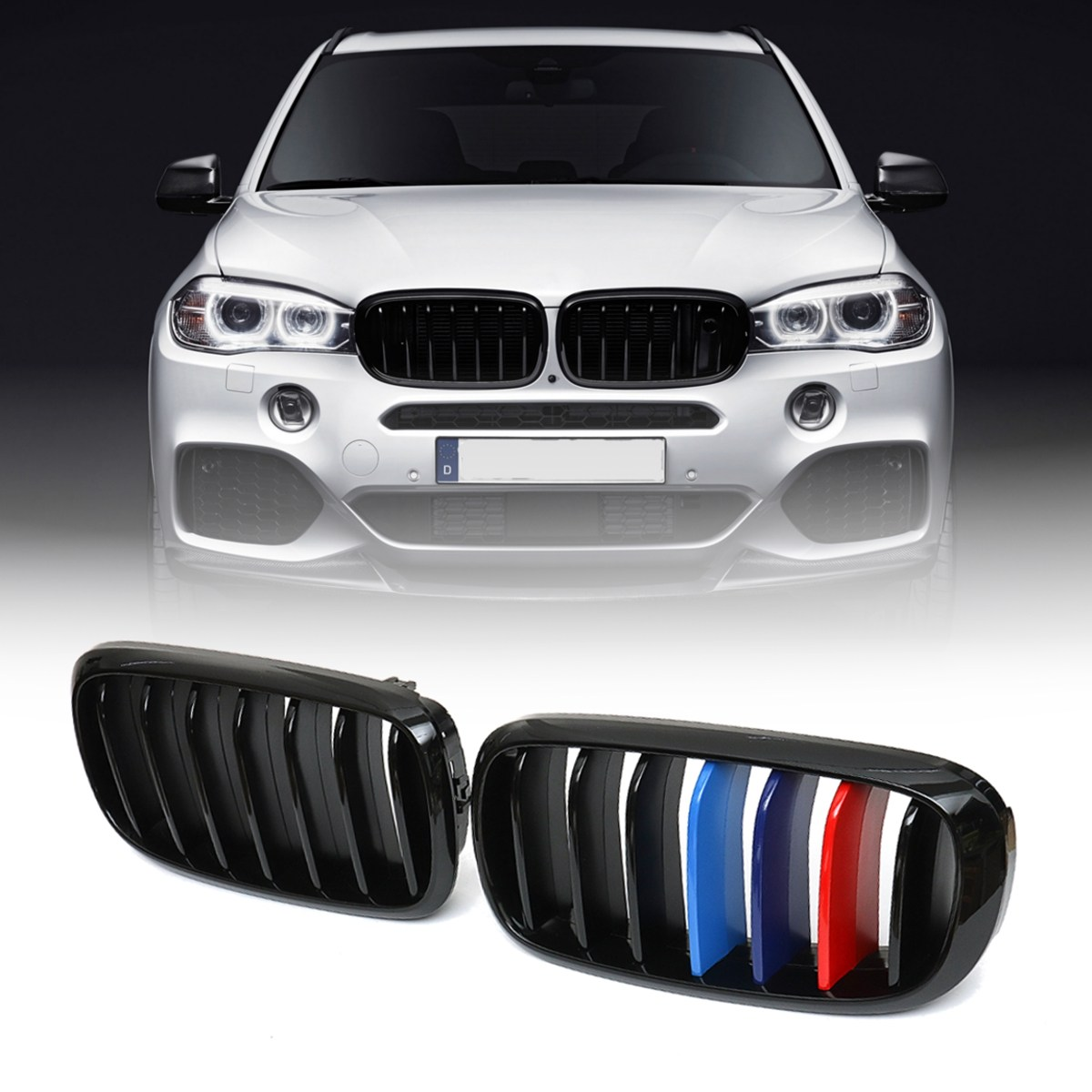 Pair Gloss Black M-Color Front Kidney Grille Grill For BMW X5 F15 X6 F16 X5M F85 X6M F86 2014 2015 2016 2017 цена 2017