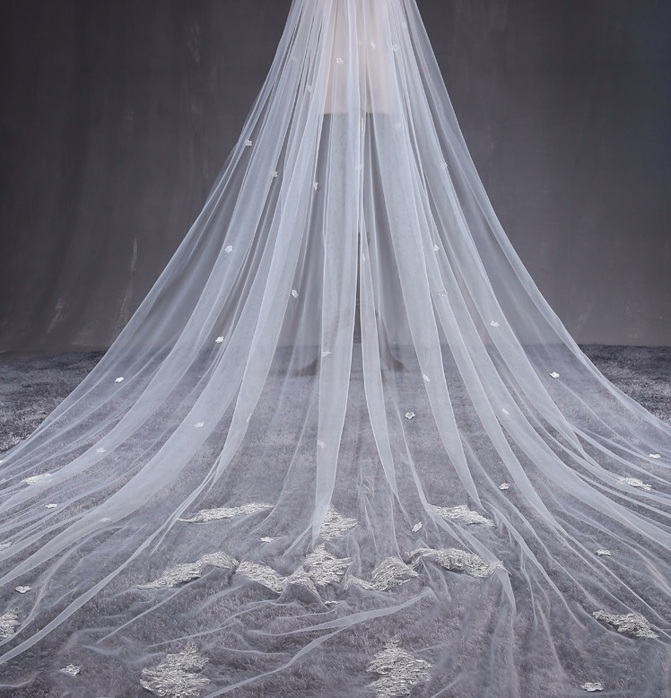3.5 meters Long One Layer White Ivory Applique Bridal Veil Wedding Veil Wedding Accessories
