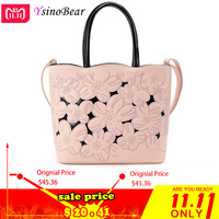 YsinoBear Luxury Handbags Women Bags Designer With Flowers Fashion Pink Soft PU Leather Tote Bags Famous Brands Shoulder Bag NEW