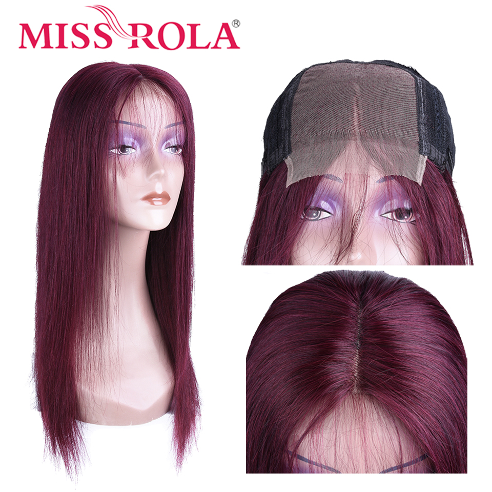 Miss Rola Hair Brazilian Remy Hair Straight 4*4 Lace Front Wig 5 Colors Lace Front Human Hair Wigs 150% Density Pink T1B/99j #27