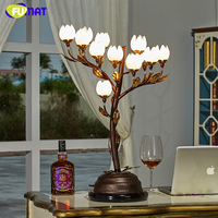 FUMAT Glass Table Lamp Fashion Pastoral Pink Lotus Shade Lamp For Living Room Bedside Lamp Art Decor Glass LED Table Lights