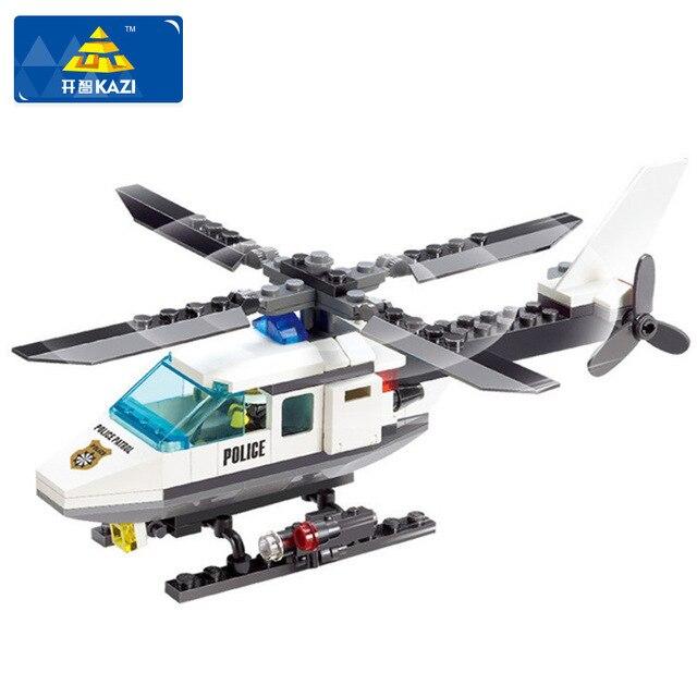 KAZI Hot Building Blocks Police Station Building Blocks 102pcs Helicopter Model Blocks Educational Playmobil Toys For Children