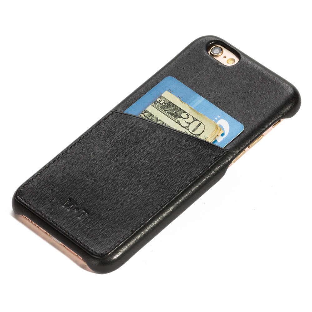 Nueva funda de cuero de grano completo de marca de lujo de España para iPhone 6 7 funda trasera de teléfono con ranuras para tarjetas nombre personalizado