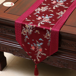 Proud Rose Chinese style Satin Table Runner Table Cloth Home Decor Table Flag with Tassel Creative Table Cover