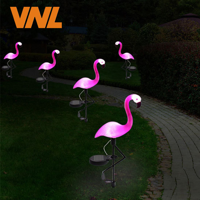 Solar Ed Pink Flamingo Lawn Lamp Garden Decor Lights Waterproof Led Light For Outdoor