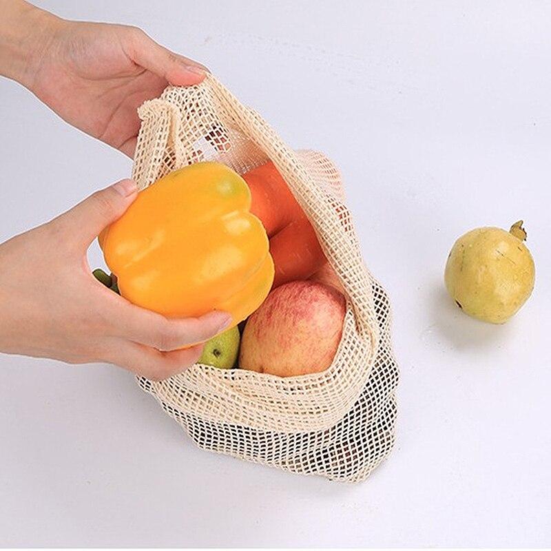 Bolsas de Malla ALGODÓN ecológica sostenible re-utilizable reutilizable varios tamaños 6