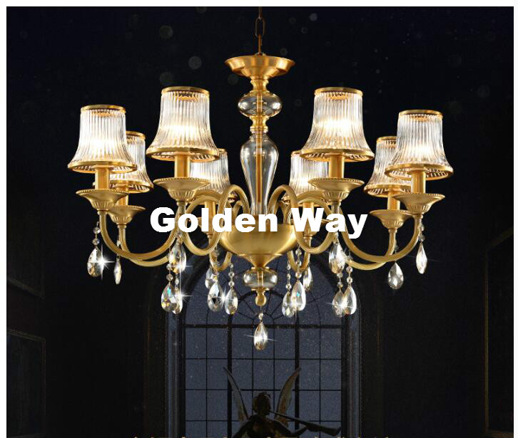 European Bronze Antique Glass Shade Design Chandelier Lingting Luxurious E14 LED AC Brass Lighting Lustre Suspension Lighting