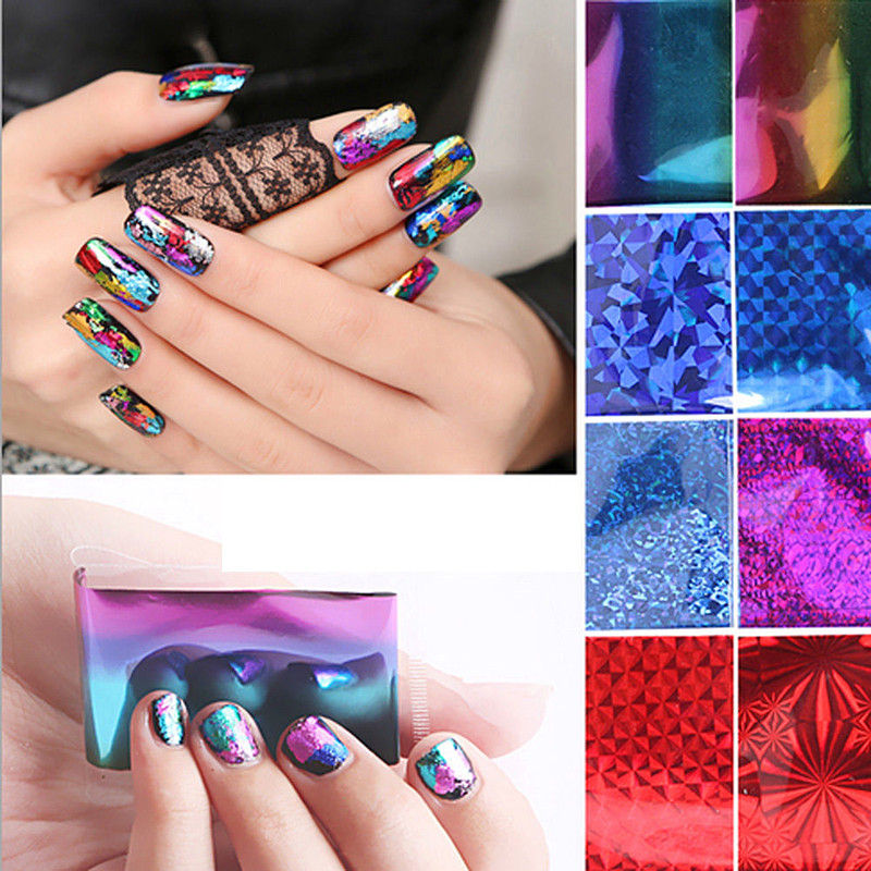 20Pcs/set Stal Laser Foils Nail Stickers DIY Nail Art Sticker Decal Transfer Stickers Wrap Tips Decor For Woman Nail Tools