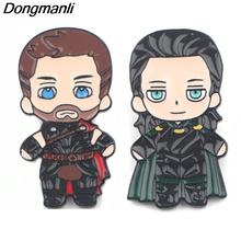 P3905 Dongmanli Fashion Friendship Thor Loki Metal Enamel Brooches and Pins Collection Lapel Pin Badge Collar Jewelry