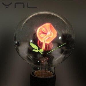 Винтажная лампочка эдисона E27 220v G80 цветок Фламинго Любовь Роза праздник ночь свет Крытый лампы накаливания Рождество Свадьба Декор