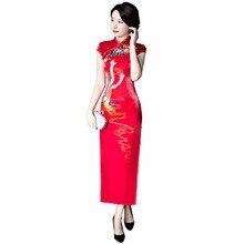 Historia shanghai hecho a mano phoenix de inyección de tinta de impresión largo rojo cheongsam qipao vestido chino tradicional clothing vestidos orientales