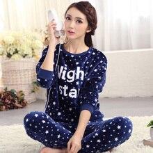 Autumn younger woman long-sleeve mm coral fleece sleepwear flannel winter pullover ladies's xxxxl lounge set