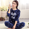 Autumn young girl long-sleeve mm coral fleece sleepwear flannel winter pullover women's xxxxl lounge set