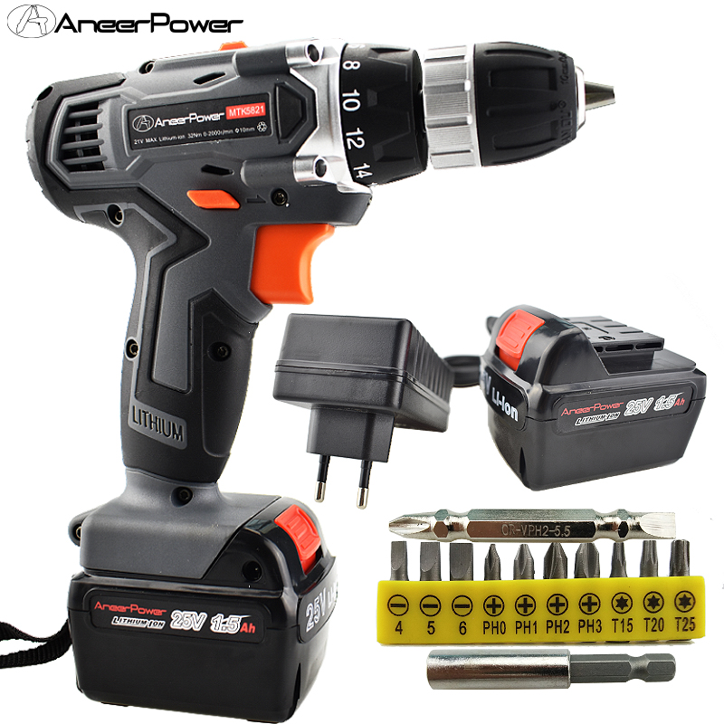 25V Electric Drill Power Tools Screwdriver Cordless Battery Mini Wireless Drill Tool Machine Electric Screw driver For Set Power electric screwdriver 25v battery operated cordless screwdriver drill tool electric screwdriver set us plug the power adapter