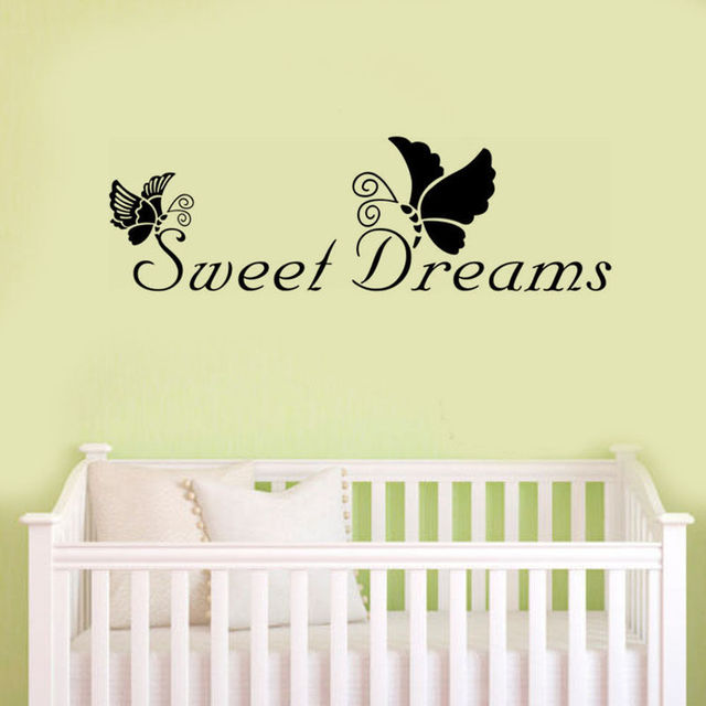 Sweet Dreams Butterfly Vinyl Wall Quotes Stickers For Kids Baby ...
