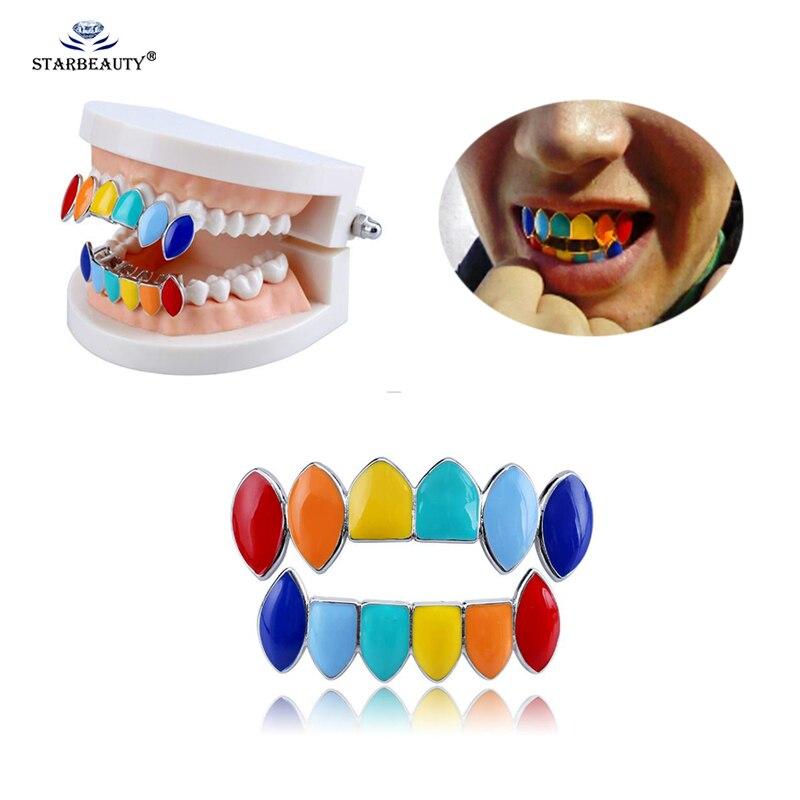 1Set Gold Punk Colorful Teeth Grillz Top&Bottom Hip Hop Grills Dental Halloween Vampire Teeth Body Jewelry    - AliExpress